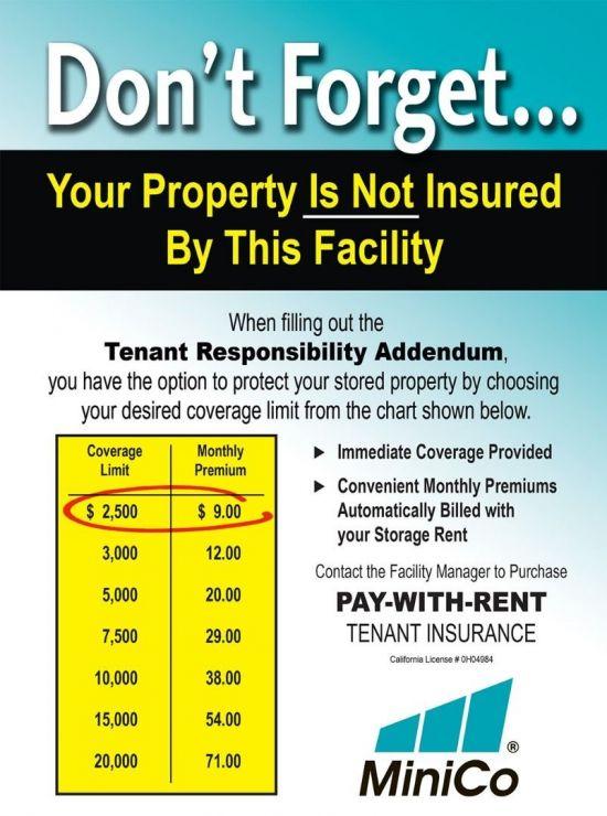 MiniCo Tenant Insurance Rates